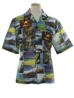 1970's Mens Photo Print Disco Style Hawaiian Shirt