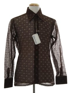 1970's Mens Designer Solid Lace Disco Shirt*