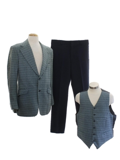 1970's Mens Combo Three Piece Disco Suit