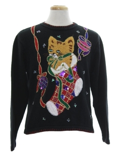 1990's Womens Cat-Tastic Ugly Christmas Sweater