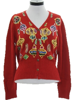 1990's Womens Designer Ugly Christmas Cardigan Cocktail Sweater