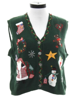 1990's Womens Country Kitsch Ugly Christmas Sweater Vest