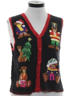1990's Womens Bear-riffic Ugly Christmas Sweater Vest
