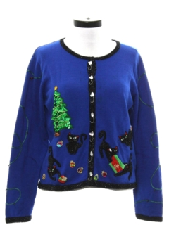 1990's Womens Designer Cat-Tastic Ugly Christmas Sweater