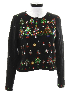 1990's Womens Designer Ugly Christmas Cocktail Sweater