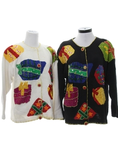 1990's Unisex Matching Pair of Two Ugly Christmas Sweaters