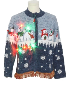 1990's Womens Hand Embellished Multicolor Lightup Ugly Christmas Sweater