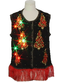 8b1cf4f30ae 1990 s Unisex Hand Embellished Multicolor Lightup Ugly Christmas Sweater  Vest
