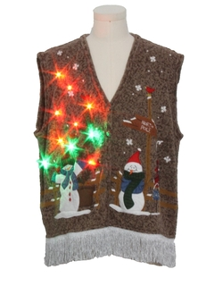 1990's Unisex Hand Embellished Multicolor Lightup Ugly Christmas Sweater Vest
