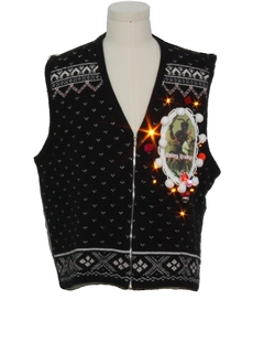 1990's Unisex Vintage Amber Lightup Krampus Ugly Christmas Sweater Vest