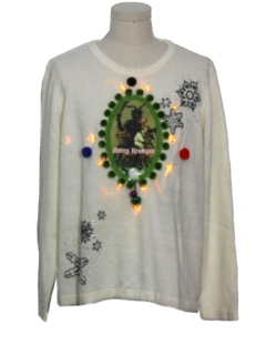 1980's Unisex White Lightup Krampus Ugly Christmas Sweater