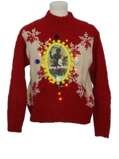 1980's Unisex Vintage Amber Lightup Krampus Ugly Christmas Sweater