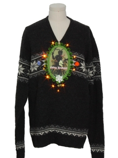 1990's Unisex Vintage Amber Lightup Krampus Ugly Christmas Sweater