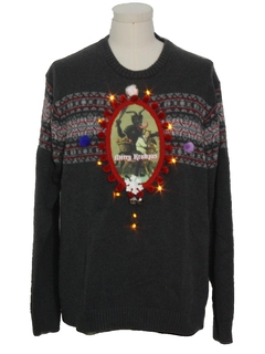 1990's Mens Amber Lightup Krampus Ugly Christmas Sweater