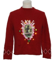 1980's Womens Vintage Amber Lightup Krampus Ugly Christmas Sweater