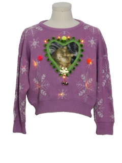 1980's Womens Vintage Amber Lightup Catmus Ugly Christmas Sweater