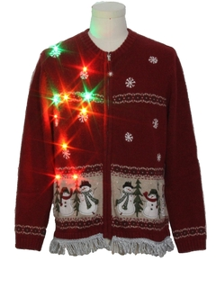 1990's Unisex Hand Embellished Multicolor Lightup Ugly Christmas Sweater