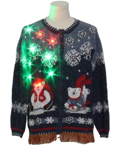 1990's Unisex Hand Embellished Bear-riffic Multicolor Lightup Ugly Christmas Sweater
