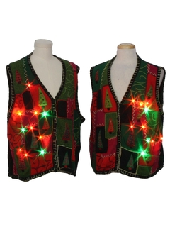 1990's Unisex Multicolor Lightup Ugly Christmas Matching Set of Sweater Vests