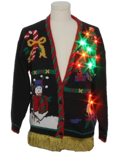 1980's Unisex Vintage Hand Embellished Multicolor Lightup Ugly Christmas Cardigan Sweater
