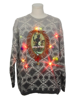 1990's Unisex Vintage Multicolor Lightup Krampus Ugly Christmas Sweater