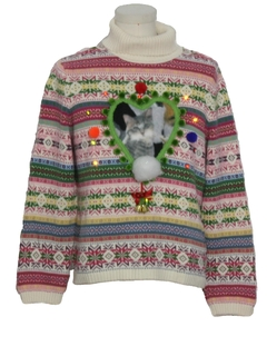 1990's Unisex Multicolor Lightup Catmus Ugly Christmas Sweater