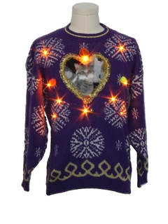1980's Unisex Vintage Amber Lightup Catmus Ugly Christmas Sweater