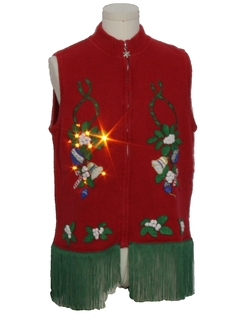 1990's Unisex Hand Embellished Amber Lightup Ugly Christmas Sweater Vest