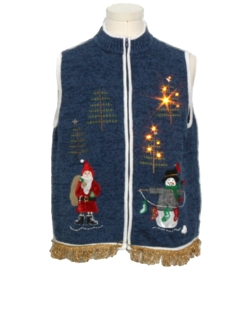 1990's Unisex Hand Embellished White Lightup Ugly Christmas Sweater Vest