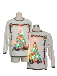 1990's Unisex Multicolor Lightup Ugly Christmas Matching Set of Sweaters