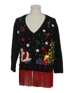 1990's Unisex Hand Embellished Amber Lightup Ugly Christmas Cardigan Sweater