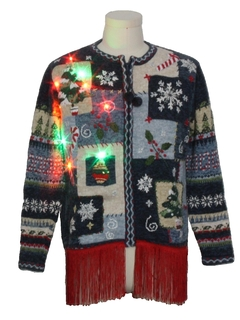 1990's Unisex Country Kitsch Style Hand Embellished Multicolor Lightup Ugly Christmas Sweater
