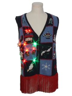 1990's Unisex Vintage Hand Embellished Multicolor Lightup Bear-riffic Ugly Christmas Sweater Vest