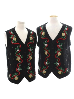 1980's Unisex Matching Set of Two Ugly Christmas Sweater Vests
