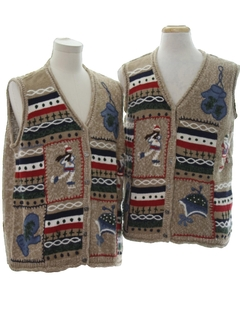 1980's Unisex Matching Set of Two Country Kitsch Style Ugly Christmas Sweater Vests