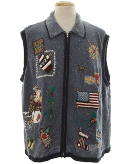 1990's Unisex Country Kitsch Patriotic Ugly Christmas Sweater Vest