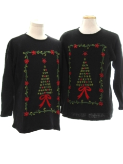 1990's Unisex Matching Set of Two Ugly Christmas Sweaters