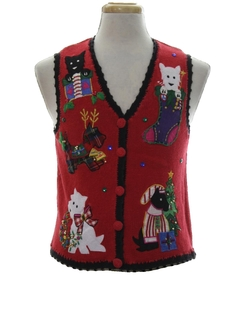 1980's Womens or Girls Cat-Tastic Ugly Christmas Sweater Vest