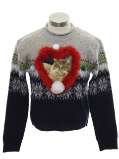 1980's Womens or Girls Catmus Ugly Christmas Sweater