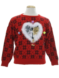 1980's Womens Vintage Catmus Ugly Christmas Sweater