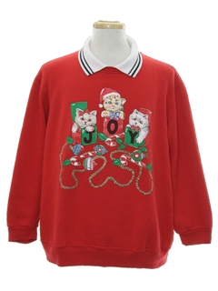 1980's Unisex Cat-Tastic Ugly Christmas Sweashirt