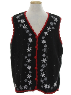 1980's Unisex Snowflake Ugly Christmas Sweater Vest