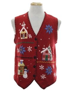 1980's Unisex Country Kitsch Ugly Christmas Sweater Vest