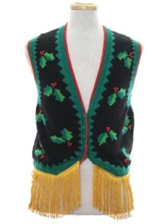 1980's Unisex Vintage Hand Embellished Ugly Christmas Sweater Vest