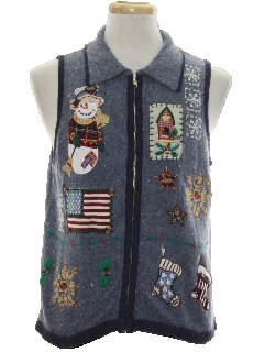 1980's Unisex Country Kitsch Patriotic Ugly Christmas Sweater Vest