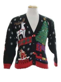 1980's Unisex Girls or Boys Vintage Ugly Christmas Cardigan Sweater