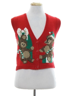 1980's Womens/Girls Vintage Ugly Christmas Sweater Vest