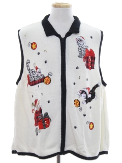 1980's Unisex Cat-Tastic Ugly Christmas Sweater Vest