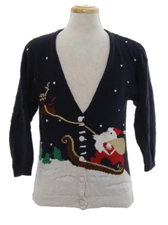 1980's Unisex Ladies or Boys Ugly Christmas Cardigan Sweater