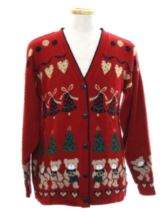 1980's Unisex Bear-riffic Vintage Ugly Christmas Cardigan Sweater